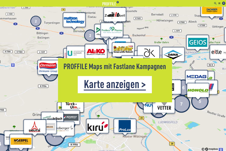 Mockup Kartenansicht von PROFFILE Maps Fastlane Kampagnen