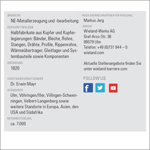 Übersicht eines Unternehmensprofils mit Firmensteckbrief und Personalansprechpartner