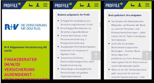 Mockup mobile Handyansicht einer Stellenanzeige