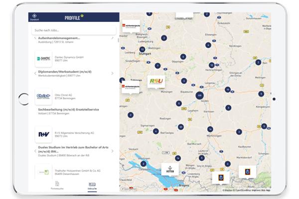 Mockup Tablet eines Untenrehmensprofils auf PROFFILE Maps